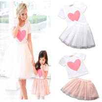 suit SAMGAMI BABY female summer Europe and America Short sleeve + skirt 2 pieces routine There are models in the real shooting Socket nothing other cotton children Expression of love other Cotton 95% other 5% 12 months, 2 years, 3 years, 4 years