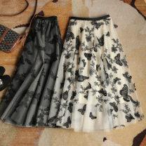 skirt Spring 2020 S,M,L,XL Black, apricot longuette Versatile A-line skirt Animal design Type A
