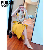Dress Summer 2021 Yellow (30 days in advance)- S M L XL longuette Two piece set Short sleeve commute Polo collar High waist Solid color Single breasted A-line skirt routine 25-29 years old Phoenicia printing F2120477 More than 95% polyester fiber Polyester 100% Pure e-commerce (online only)