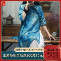 Dress Summer 2021 Blue flower, yellow flower Average size Mid length dress singleton  elbow sleeve commute stand collar Loose waist Decor Three buttons A-line skirt routine Others Type A Retro Stitching, buttons, print More than 95% hemp