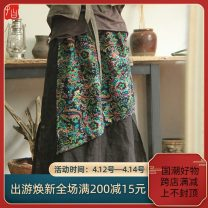 skirt Spring 2021 Average size Green pop on black, red elephant on black Mid length dress Retro Natural waist Abstract pattern Type H C3 More than 95% hemp Pocket, worn, stitched, printed