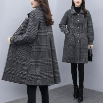 Women's large Winter 2020 Graph color L (recommendation 115) - 130 kg) , XL (recommendation 130) - 145 kg) , 2XL (recommendation 145) - 160 kg) , 3XL (recommendation 160) - 180 kg) , 4XL (recommendation 180) - 200 kg) woolen coat singleton  commute easy thick Cardigan Long sleeves lattice other 9-10Y