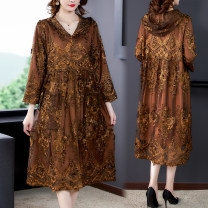 Women's large Autumn 2020 Brown, orange L (recommended 100-115 kg), XL (recommended 115-130 kg), 2XL (recommended 130-145 kg), 3XL (recommended 145-160 kg), 4XL (recommended 160-180 kg), 5XL (recommended 180-200 kg) Windbreaker singleton  commute easy moderate Cardigan Long sleeves Solid color Hood