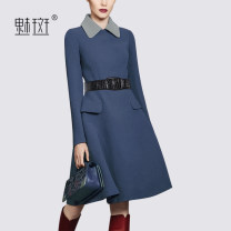 Dress Spring 2021 blue S M L XL XXL Mid length dress singleton  Long sleeves street Polo collar middle-waisted Solid color Socket A-line skirt routine Others 30-34 years old My bun MEAQ128362 71% (inclusive) - 80% (inclusive) polyester fiber Europe and America