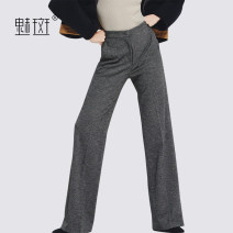 Casual pants lattice XXL S M L XL Autumn 2020 trousers Wide leg pants Natural waist street 30-34 years old My bun Polyester 86.5% viscose 13.5% Europe and America