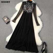 Dress Spring 2020 black S M L XL longuette singleton  Long sleeves commute stand collar middle-waisted Solid color zipper Big swing routine 25-29 years old Noory / promise lady Splicing NA20AT10576 More than 95% polyester fiber Polyester 100%