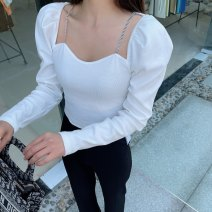 T-shirt Black, white, blue, green, fluorescent green S, M Spring 2021 Long sleeves V-neck Self cultivation Regular puff sleeve commute nylon 96% and above Korean version Solid color Other / other