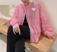 short coat Summer 2021 S, M White, blue, orange, pink Long sleeves routine routine singleton  Straight cylinder commute puff sleeve stand collar zipper lattice Other / other 96% and above Button, pocket, thread polyester fiber polyester fiber