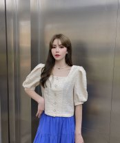 shirt Black, blue, orange, apricot S, M Summer 2021 cotton 96% and above Short sleeve commute Short style (40cm < length ≤ 50cm) square neck Single row multi button puff sleeve Solid color High waist type Other / other Korean version fold Cotton and hemp