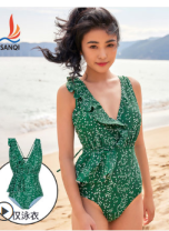 one piece  Shake M,L,XL Green swimsuit, green blouse Triangle one piece swimsuit Steel strap breast pad Polyester, nylon, spandex, others female Middle sleeve Casual swimsuit