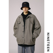 Jacket Other / other Youth fashion Black, gray, khaki, brown M,L,XL routine easy Other leisure autumn Long sleeves Wear out Lapel tide teenagers routine Single breasted 2019 Cloth hem Loose cuff Solid color Side seam pocket