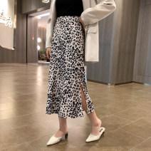 skirt Spring 2021 S,M,L Apricot Mid length dress commute High waist A-line skirt Leopard Print Type A 1Q4103 30% and below other 6du shop other Korean version