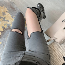 Jeans Spring 2021 Black grey S,M,L trousers High waist routine 25-29 years old Cotton elastic denim Dark color two point two two