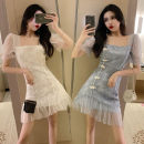Dress Summer 2020 Light blue, white S,M,L Short skirt singleton  Short sleeve Sweet square neck High waist Ruffle Skirt Others 18-24 years old eight point one four 31% (inclusive) - 50% (inclusive)