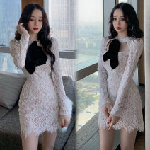 Dress Autumn 2020 white S, M Short skirt singleton  Long sleeves street other High waist Pencil skirt Others 18-24 years old nine point one four 31% (inclusive) - 50% (inclusive)