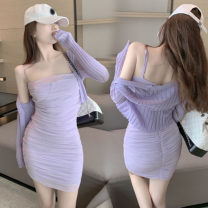 Fashion suit Winter 2020 Average size The purple suspender skirt sells alone, the purple knitting cardigan sells alone 18-25 years old one point two eight