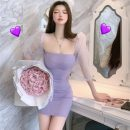 Dress Spring 2021 lilac colour S,M,L Short skirt singleton  Long sleeves commute square neck High waist Solid color Socket other routine Others 18-24 years old Korean version 31% (inclusive) - 50% (inclusive) other other