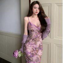 Dress Summer 2021 1670 purple dress, 16702 purple cardigan Average size Mid length dress Two piece set Sleeveless commute V-neck Decor 18-24 years old Korean version 30% and below