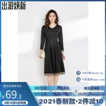 Dress Spring 2021 Red, black L,XL,M,3XL,S,4XL,5XL,2XL Mid length dress singleton  Long sleeves V-neck middle-waisted Socket 25-29 years old 9 Charms