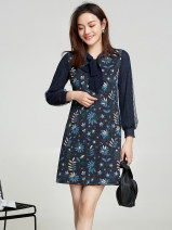 Dress Spring 2021 blue L,3XL,2XL,M,4XL,XS,5XL,S,6XL,XL,F Short skirt singleton  Long sleeves Sweet other middle-waisted Socket routine 30-34 years old 9 Charms 9m
