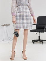 skirt Spring 2021 XS,S,M,L,XL,XXL,XXXL Pink and blue check Middle-skirt other 25-29 years old 9 Charms