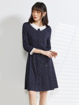 Dress Spring 2021 Blue without belt, blue with belt, red without belt, red with belt XS,S,M,L,XL,2XL,3XL,4XL,5XL,6XL,F Middle-skirt singleton  Nine point sleeve other High waist other routine 30-34 years old 9 Charms