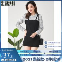 Dress Spring 2021 Black, Navy, pink F Fake two pieces Long sleeves Crew neck Socket routine 25-29 years old 9 Charms