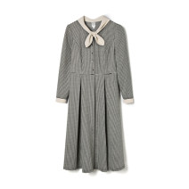 Dress Spring 2021 XS,S,M,L,XL,2XL,3XL,4XL,5XL,6XL,F Mid length dress singleton  Long sleeves other middle-waisted houndstooth  zipper other routine Others 30-34 years old 9 Charms