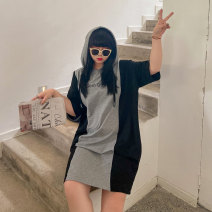 Women's large Spring 2021 Black and grey Large XL, large XXL, large XXL, large XXXXL, large XXXXL Dress singleton  commute thin Socket elbow sleeve Korean version