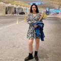 Women's large Autumn 2020 Black, yellow Large L, large XL, large XXL, large XXL, large XXXL Dress commute easy Socket Long sleeves Korean version V-neck 100% of large size Short skirt