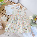 Dress female Other / other Cotton 95% other 5% summer princess Skirt / vest Broken flowers Cotton blended fabric A-line skirt Class B 18 months, 2 years old, 3 years old, 4 years old, 5 years old, 6 years old, 7 years old, 8 years old, 9 years old Chinese Mainland