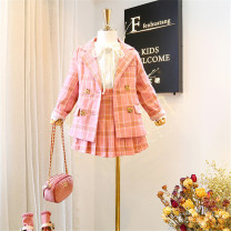 suit Other / other female spring and autumn Korean version Long sleeve + skirt 2 pieces routine There are models in the real shooting Single breasted nothing lattice Pure cotton (100% cotton content) Class B Cotton 100% Chinese Mainland