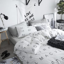 Bedding Set / four piece set / multi piece set A house of dignitaries cotton 4 pieces 40 cotton other letter 133x72 Carl 1.2m (quilt cover 150x200cm) 1.5m (quilt cover 200x230cm) 1.8m (quilt cover 200x230cm) Sheet and fitted sheet Qualified products Nordic style 100% cotton twill Reactive Print