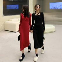 Dress Spring 2021 Red, black Average size Mid length dress singleton  Long sleeves commute V-neck High waist Solid color Socket other other Others 18-24 years old Korean version 51% (inclusive) - 70% (inclusive) knitting other