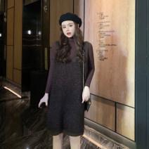 Dress Winter of 2019 Silver waistcoat skirt, black waistcoat skirt, black knitting bottom 1090, deep coffee knitting bottom 1090# Average size Other / other