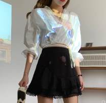 skirt Autumn 2020 Average size Black top, white top, black skirt, white skirt Short skirt commute High waist A-line skirt Solid color Type A polyester fiber fold