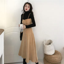 Fashion suit Autumn of 2019 S. M, average size Black high collar with corduroy dress 25-35 years old Other / other 51% (inclusive) - 70% (inclusive)