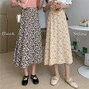 skirt Summer 2020 Average size Apricot, black Mid length dress Versatile High waist A-line skirt Decor Type A 30% and below Chiffon Other / other polyester fiber