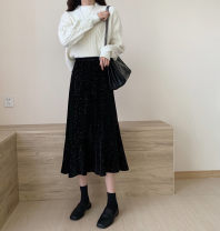 skirt Autumn 2020 Average size black Mid length dress Versatile High waist A-line skirt Type A 18-24 years old 31% (inclusive) - 50% (inclusive) other polyester fiber