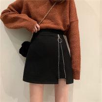 skirt Winter 2020 S,M,L,XL black Short skirt commute High waist A-line skirt Solid color Type A 18-24 years old 30% and below Wool polyester fiber zipper Korean version
