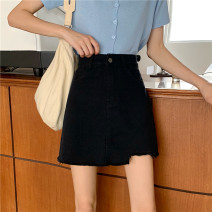 skirt Summer 2020 S,M,L,XL Blue, black Short skirt commute High waist Denim skirt Solid color Type A 71% (inclusive) - 80% (inclusive) Denim cotton Korean version