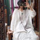 Dress Summer 2021 White, black, red, green Average size longuette singleton  Long sleeves commute Loose waist Solid color Socket Sleeve Retro Embroidery, pocket NGL18081603-1265 More than 95% hemp