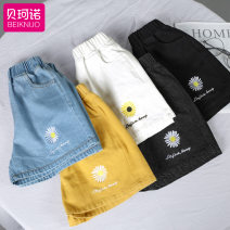 trousers Becono female 100cm 110cm 120cm 130cm 140cm 150cm 160cm summer shorts There are models in the real shooting Casual pants Leather belt Don't open the crotch Cotton 70% viscose 15% polyester 15% BKN-TTYHDK Summer 2020