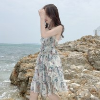 Dress Summer of 2019 Fragmentary Decor S M L XL Mid length dress singleton  Sleeveless Sweet V-neck High waist Broken flowers Socket Princess Dress routine camisole 18-24 years old Type A Listen attentively Auricularia auricula with bow and tuck CQ1863A More than 95% Chiffon polyester fiber Mori
