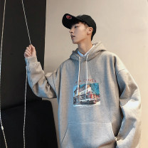 Sweater Youth fashion myfangshao Light gray, black, red, white, dark gray, > Click to view size < (select color in front) M,L,XL,2XL originality Socket Plush Hood spring easy leisure time teenagers tide routine printing No iron treatment Side seam pocket
