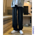 Jeans Youth fashion myfangshao S,M,L,XL,2XL Blue, black routine No bullet Regular denim trousers Other leisure Four seasons youth middle-waisted Fitting straight tube 2021 Straight foot zipper washing washing