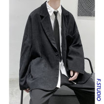 man 's suit Black, white Others Youth fashion routine M,L,XL,2XL easy A single breasted button Other leisure No slits youth Long sleeves spring routine tide Casual clothes Baling collar Round hem Solid color Regular collar (collar width 7-9cm) 2020 Three dimensional bag No iron treatment