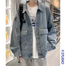 Jacket myfangshao Youth fashion Light blue, > Click to view size < (select color in front) M,L,XL,2XL routine easy Other leisure spring Long sleeves Wear out Lapel tide teenagers routine Single breasted 2021 Cloth hem washing Closing sleeve Denim Cover patch bag