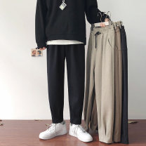 Casual pants myfangshao Youth fashion Black, khaki, apricot, Navy, > Click to view size < (select color in front) M,L,XL,2XL,3XL routine trousers Other leisure easy Micro bomb spring teenagers tide 2021 Medium low back Little feet Haren pants washing Solid color