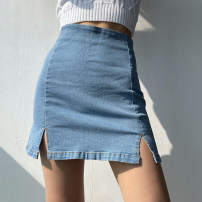 skirt Spring 2021 XS,S,M,L Dark blue, light blue Short skirt street High waist skirt Solid color Type A 18-24 years old 51% (inclusive) - 70% (inclusive) Denim other Zipper, stitching Europe and America